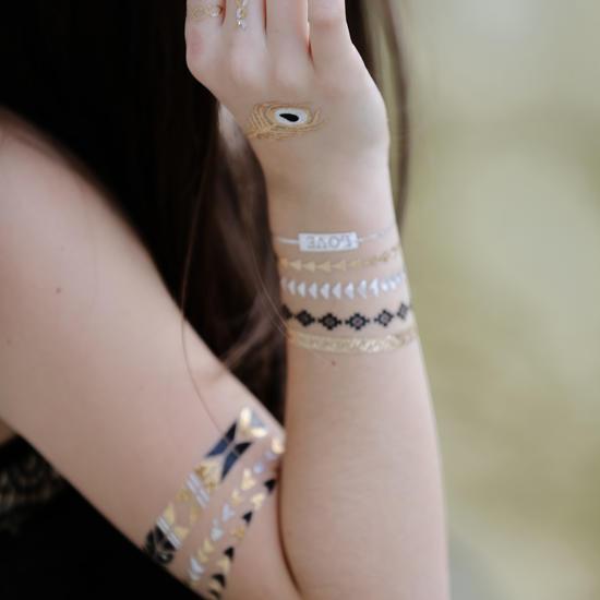 NHI Metallic Temporary Tattoos, 150+ Flash Tattoos Gold Silver, 8 Sheets - Aztec Tattoo, Mandala Tattoo, Mehndi Tattoo, Boho Temp Tattoo