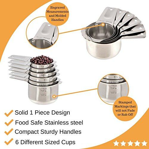 Stainless Steel Metric Measuring Cups and Spoons Set by Cooking Gods with Kitchen Conversion Chart Magnet. 12 Piece Sturdy Stackable Metal Measure Set for Measuring Dry and Liquid Ingredients.