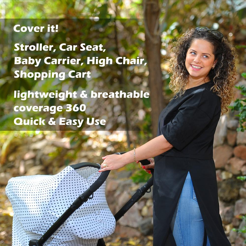 Baby Mosquito net and Nursing Breastfeeding Privacy Cover Scarf Car Seat Canopy Shopping Cart Stroller Carseat Covers for Girls and Boys Best Multi-Use Infinity Stretchy Shawl