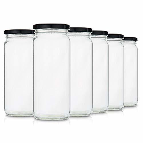Glass Smoothie Jars for Drinking and Storage - Set of 6 | Easy Water Bottle and Reusable Container for Juice, Milk, Kombucha, Bulk Foods and Beverages | 16 Oz Clear with Wide Mouth | Bonus Straw Lid