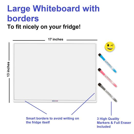 Magnetic Dry Erase Fridge Whiteboard for Family Communications - 3 Markers & Eraser Included!